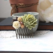 large green flower collage hair comb