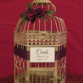 Champagne Birdcage Card Holder With Eggplant Flowers