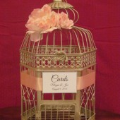 Champagne Birdcage Card Holder With Peach Peonies