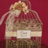 Champagne Birdcage Wedding Card Holder with Lace