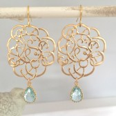 Gold Lace Earrings, Bridesmaid Earrings, Bridesmaid Gifts, Dangle Earrings