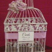 White Birdcage Wedding Card Holder with Lavender Flowers