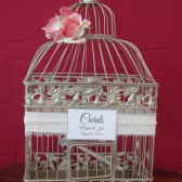 Shabby Chic Champagne Birdcage with Lace and Pearls