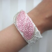 beaded leaf and lace cuff