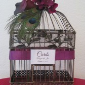 Peacock Birdcage card Hoilder with Calla Lillies