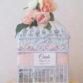 Sweet Shabby Chic Birdcage card Holder with Pink Peonies