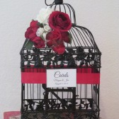 Black Birdcage Card Holder Christmas Theme