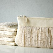Bridesmaids clutch set, pleated lace