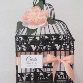 Black Birdcage With Peach Peonies