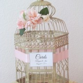 shabby Chic Champagne Birdcage Card Holder