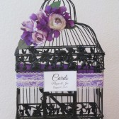 Black Birdcage Wedding Card Holder with purple accents