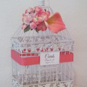 Pink Coral Wedding Birdcag Card Holder