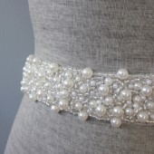 pearl beaded wedding sash