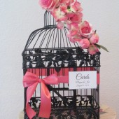 Birdcage wedding card holder with pink coral accents