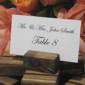 Rustic wood place card/escort card holders
