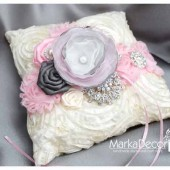 Wedding Ring Pillow with Brooches Crystals Handmade Flowers in Ivory Pink and Pewter