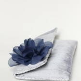 Silver & Navy Silk Clutch