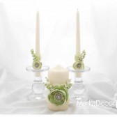 Wedding Unit set of 3 candles in Green and Ivory