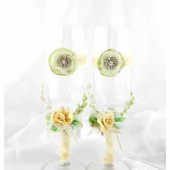 Wedding Glasses with my Stamen's Accents, Handmade Flowers, Special Ribbons in Green and Ivory