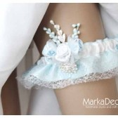 Bridal Garter in Blue and White with Brooch, Flowers, my Stamens' Accents