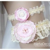 Bridal Garter sSet in Pink and Ivory with Brooches, and Handmade Flowers