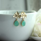 Cherry Blossom Gold Framed Minst Green Glass Jewel Drop Earrings