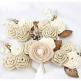 Groom and Groomsmen Boutonnieres Set of 5 with Satin Flowers in Ivory, Champagne, Cream ,Tan and Brown