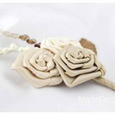Groomsman Father Boutonniere with Satin Flowers in Ivory, Champagne, Cream,Tan and Brown