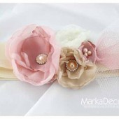Bridal Sash in Nude, Ivory, Champagne Dusty Pink Blush with Brooches, Glass Beads and Handmade Flowers