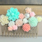 Mint Coral Wedding Hair Comb Vintage Flower Shabby Chic