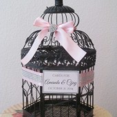 Black Birdcage Wedding Card Holder Pink and Black