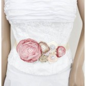 Bridal Sash / Custom Made Belt in Ivory, Champagne, Nude, Tan, Cream and Dusty Pink with Brooches, Glass Beads and Handmade Flowers