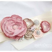 Bridal Sash in Nude, Cream, Ivory, Champagne Dusty Pink Tan with Brooches, Glass Beads and Handmade Flowers