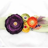 Bridal Sash in Purple Green and Yellow with Brooches, Glass Beads and Handmade Flowers