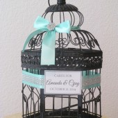 Aqua Wedding Birdcage Card Holder with Lots of Bling