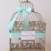 Aqua Wedding Birdcage Card Holder