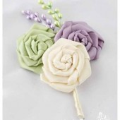 Groomsman Father Boutonniere with Satin Flowers in Ivory, Green and Lavender