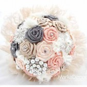 Brooch Bouquet Bridal Bouquet Jewelled Bouquet in Cream Tan Pewter Peach and Nude