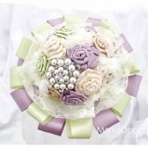 Brooch Bouquet Bridal Bouquet Jewelled Bouquet in Cream Tan Champagne Green and Dusty Lilac