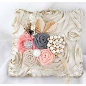 Wedding Ring Pillow in Tan Peach and Pewter with Brooches Crystals Handmade Flowers