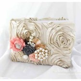Wedding Guest Book in Tan Peach and Pewter with Brooches Crystals Handmade Flowers and Stamens' Accents