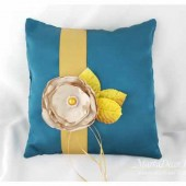 Wedding Ring Pillow in Tan Gold and Teal with Crystals Big Handmade Flower