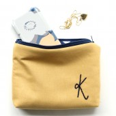 Navy and Gold Monogram Cosmetic Bag