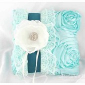 Wedding Ring Pillow in Ivory Teal and Mint with Big Handmade Flower, Lace and Crystals