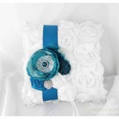 Wedding Ring Pillow in Teal Turquoise and White with Brooches Crystals Handmade Flowers