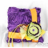 Wedding Ring Pillow in Purple Green Orange and Yellow with Brooches Crystals Handmade Flowers