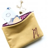Gold and Plum Monogrammed Cosmetic Bag