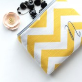 Yellow and Gray Monogram Cosmetic Bag