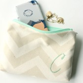 monogram Cosmetic Bag in Mint and Cream