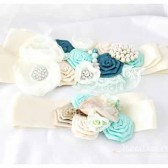 Bridal Sash in Mint Ivory and Teal with Brooches, Glass Beads and Handmade Flowers